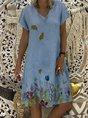Floral-Print Short Sleeve Cotton-Blend Dress