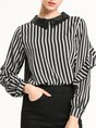 Elegant Printed Striped Peter Pan Collar Frill Sleeve Blouse