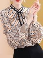 Printed Casual Frill Sleeve Tie-Neck Blouse