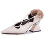 Genuine Leather Fur Detachable Spool Heel Shoes