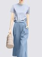 Belts Pockets Solid Casual Two-Piece Set