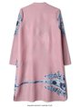 Stand Collar Pink Casual A-Line Printed Midi Dress