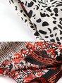 Stand Collar Multicolor Printed 3/4 Sleeve Beach Midi Dress
