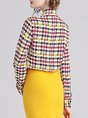 Printed Tie-Neck Houndstooth Elegant Blouse