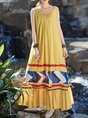 Casual Swing Crew Neck Linen Linen Dress