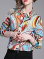 Multicolor Casual Buttoned Shirt Collar Blouse