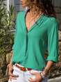 V Neck Solid Casual Blouse