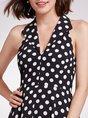 Lapel Sleeveless A-Line Daily Printed Polka Dots Midi Dress