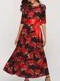 Red A-Line Cocktail Floral-Print Maxi Dress