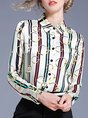 Casual Shirt Collar Buttoned Graphic Sheath Printed Blouse