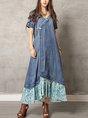 Denim V Neck Daily Paneled Swing Maxi Dress