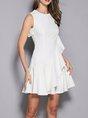 White A-Line Date Asymmetric Mini Dress