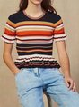 Short Sleeve Crew Neck Color-Block Striped Knitted T-Shirt