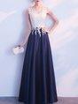 Color-Block A-Line Evening Elegant Paneled Maxi Dress