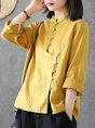 Solid Linen Shift Long Sleeve Stand Collar Buttoned Top