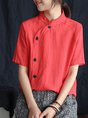 Casual Asymmetric Buttoned Stand Collar Casual Top