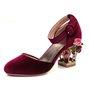 Elegant Date Flower Chunky Heel Suede Sandals