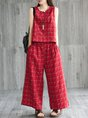 Linen Pockets Daily Shift Plaid Casual Top With Pants Set