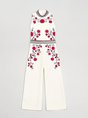 White Sheath Printed Casual Stand Collar  Top With Pants