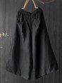 Summer Shirred Pockets Linen Wide Leg Pants