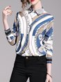 Sheath Long Sleeve Graphic Blouse