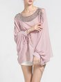 Pink See-Through Look Beaded Crew Neck Batwing Top