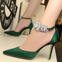 Rhinestone Flower Satin Stiletto Heel Wedding Party Shoes
