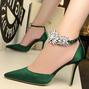 Rhinestone Flower Satin Stiletto Heel Wedding Party Shoes