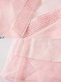 V Neck Pink A-Line Date Vintage Midi Dress