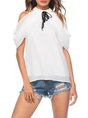 White Cold Shoulder Solid Stand Collar Shift Cropped Top