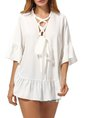 White Casual Solid Bell Sleeve Lace Up Tunic