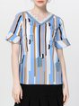 Color-block Frill Sleeve Shift Striped Shift Cropped Top