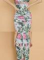 Deep V-Neck Printed Bodycon Slit Floral Midi Dress