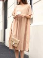 Summer Slit Shirred Linen Dress