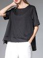 Short Sleeve Casual Shift Paneled T-Shirt