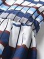 V Neck Blue A-Line Checkered/plaid  Midi Dress