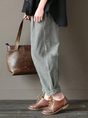 Casual Striped Printed Linen Pants