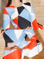 Crew Neck Printed  Frill Sleeve Sheath Date Elegant Midi Dress