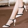 Spool Heel Panel Color Block Imitation pearls Date Shoes