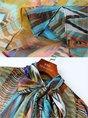 Multicolor Printed Short Sleeve Tie-Neck Elegant Top