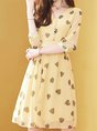 V Neck Yellow Heart Printed A-Line Daily Casual Midi Dress