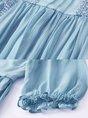 Blue Crew Neck Sweet Paneled 3/4 Sleeve Date Paneled Midi Dress
