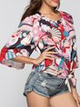 Multicolor Graphic Printed Holiday Bell Sleeve Crew Neck Top