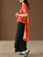 Red Casual Abstract Linen Crew Neck Printed Asymmetric T-Shirt