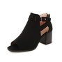 Casual Suede Chunky Heel Peep Toe Daily Boots