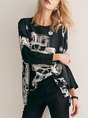 Casual Geometric Printed Daytime  Batwing T-Shirt