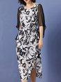 Black Crew Neck  A-Line Daily Elegant Abstract Printed Midi Dress