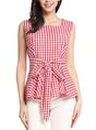 Casual Sleeveless Checkered/Plaid Square Neck Tank Top