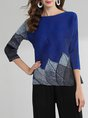 Casual Printed 3/4 Sleeve Leaf Shift Daily  Top