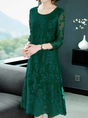 Green 3/4 Sleeve Elegant A-Line Date Embroidered Midi Dress
